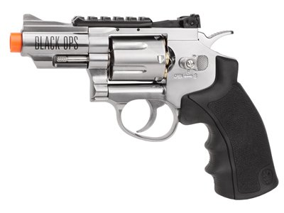Black Ops / WG CO2 Airsoft Revolver, Silver, 2.5″ Airsoft Gun